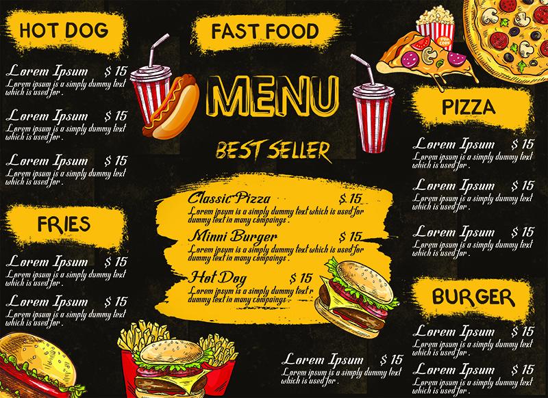 Fast Food Menu Card
