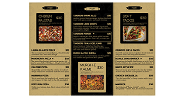 Food Trifold Menu Design